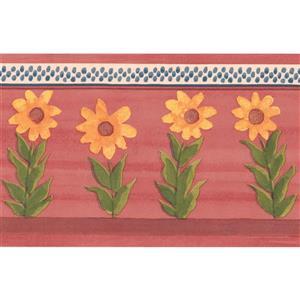 York Wallcoverings Flowers Wallpaper Border - 15-ft x 5.5-in - Red