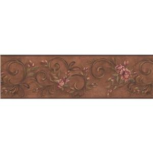 York Wallcoverings Flowers Damask Wallpaper Border - 15-ft x 6.75-in - Brown