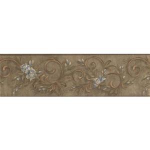 York Wallcoverings Flowers Damask Wallpaper Border - 15-ft x 7-in - Gray
