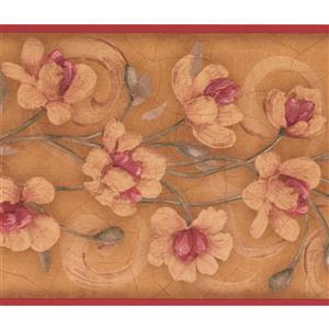 York Wallcoverings Floral Wallpaper Border - 15-ft - Orange