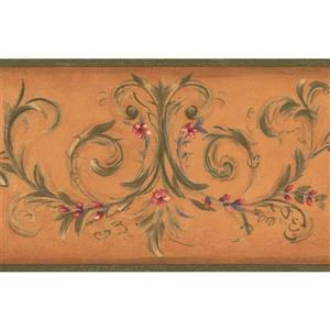 York Wallcoverings Flowers on Vine Wallpaper Border - 15-ft x 7-in - Orange