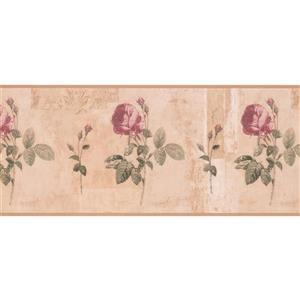 York Wallcoverings Blooming Roses Wallpaper Border - 15-ft x 10.25-in - Red