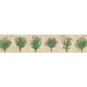 Norwall Wild Plants Wallpaper Border - 15' x 5.25-in- Green