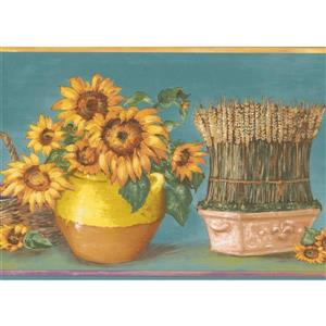 Norwall Sunflower in Pots Wallpaper Border - 15' x 7-in- Teal
