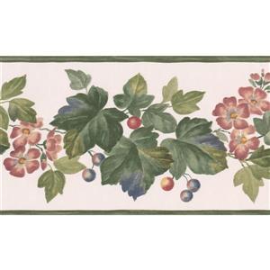"Retro Art Floral Wallpaper Border - 15' x 5.2"" - White"