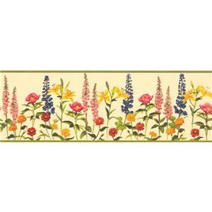 "Chesapeake Floral Wallpaper Border - 15' x 8"" - Yellow"