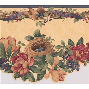 "Retro Art Flowers on Vine Wallpaper Border - 15' x 10"" - Yellow"