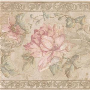 Norwall Pink Flowers Wallpaper Border - 15' x 9-in- Beige
