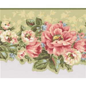 York Wallcoverings Flowers Wallpaper Border - 15-ft x 7-in - Pink