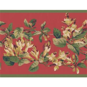 York Wallcoverings Floral Wallpaper Border - 15-ft x 6.87-in - Red