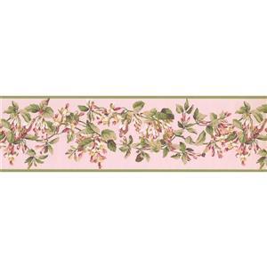 York Wallcoverings Flowers on Vine Wallpaper Border - 15-ft x 6.75-in - Pink