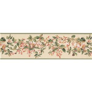 York Wallcoverings Flowers on Vine Wallpaper Border - 15-ft x 7-in - White
