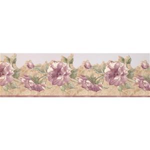 "Retro Art Flowers on Vine Wallpaper Border - 15' x 6.75"" - Purple"