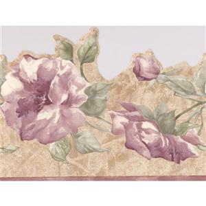 "Retro Art Flowers Wallpaper Border - 15' x 7"" - Purple"
