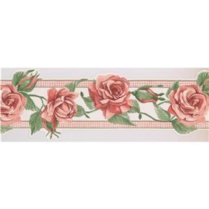 "Retro Art Blooming Roses Wallpaper Border - 15' x 8.26"" - Pink"