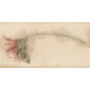 Norwall Flowers Wallpaper Border - 15' x 5.25-in- Beige