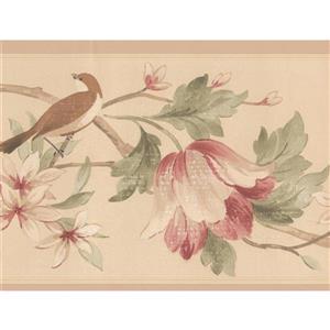 Norwall Flowers birds Wallpaper Border - 15' x 7-in- Beige