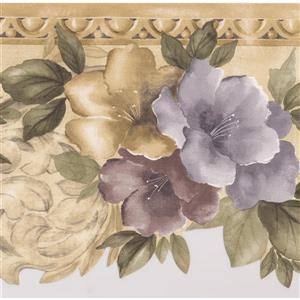 Norwall Flowers Abstract Wallpaper Border - 15' x 8.5-in- Gold