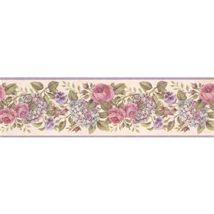 Chesapeake Blooming Roses Wallpaper Border - 15'  - Purple