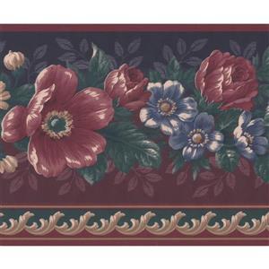 "Retro Art Flowers Garnet Floral Wallpaper Border - 15' x 7"" - Red"