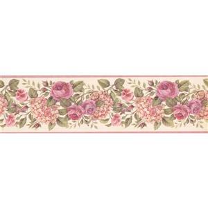 "Chesapeake Blooming Roses Wallpaper Border - 15' x 6.75"" - Purple"