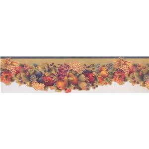 "Chesapeake Berries on Vine Wallpaper Border - 15' x 6"" - Beige"