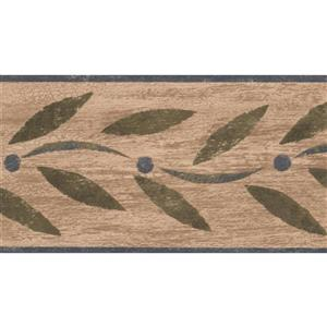 "Chesapeake Abstract Green Leaves Wallpaper Border - 15' x 4.5"" - Green"