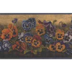 "Chesapeake Flowers Floral Wallpaper Border - 15' x 7"" - Blue"
