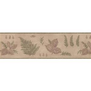 "Retro Art Leaves floral Wallpaper Border - 15' x 6.87"" - Beige"