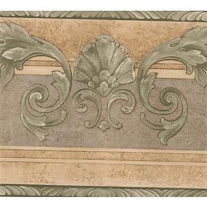 Norwall Abstract Leaves Damask Wallpaper Border - 15' x 7-in- Green