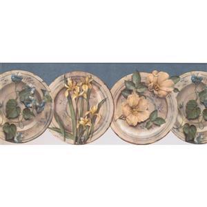 York Wallcoverings Flowers on Plate Wallpaper Border - 15-ft x 10-in - Blue