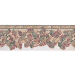 "Retro Art Leaves Vintage Wallpaper Border - 15' x 8.25"" - Red"