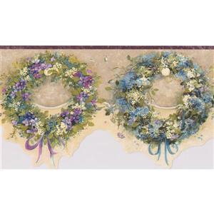 "Chesapeake Wreaths Floral Wallpaper Border - 15' x 6.25"" - Blue"