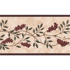 "Chesapeake Berries Wallpaper Border - 15' x 5.25"" - Beige"