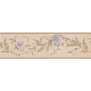 York Wallcoverings Flowers on Vine Wallpaper Border - 15-ft x 7.25-in - Beige