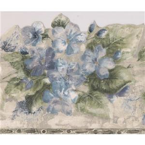 Norwall Floral Wallpaper Border - 15' x 6.5-in- Blue