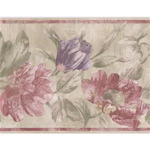 Norwall Flowers Wallpaper Border - 15' x 7-in- Green