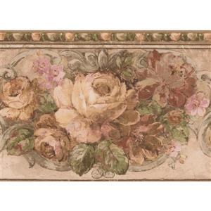 Norwall Blooming Roses Vintage Wallpaper Border - 15' x 7-in- Pink