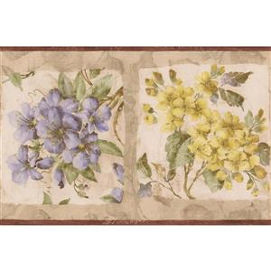 Norwall Floral Wallpaper Border - 15' x 8.5-in- Beige