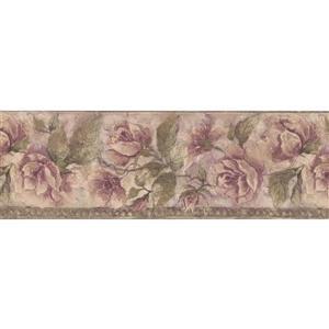 Norwall Bloomed Flowers Vintage Wallpaper Border - 15' x 8-in- Beige