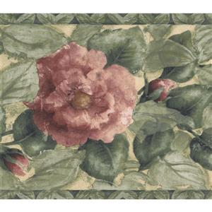 Norwall Blooming Roses Wallpaper Border - 15' x 7-in- Green