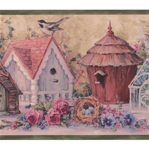 Chesapeake Flowers Birdhouses Vintage Wallpaper Border - 15' - Blue
