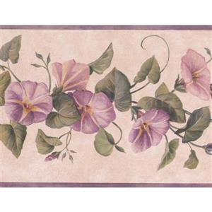 "Chesapeake Flowers on Vine Floral Wallpaper Border - 15' x 7"" - Purple"