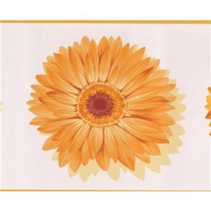 Norwall Bright Flowers Wallpaper Border - 15' x 7-in- Yellow
