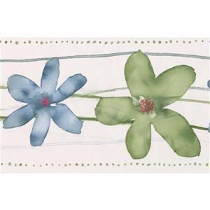 Norwall Bathroom Floral Wallpaper Border - 15' x 7-in- Green