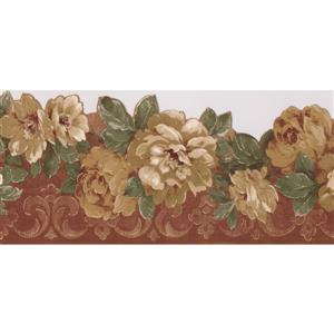 Norwall Bloodred Floral Wallpaper Border - 15' x 5.5-in- Yellow