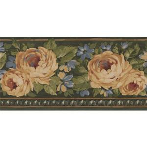 Norwall Bloomed Roses Floral Wallpaper Border - 15' x 5.25-in- Green