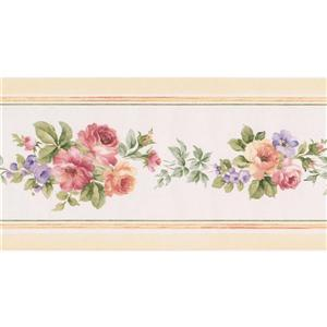 Norwall Lilac flowers Wallpaper Border - 15' x 5.25-in- White
