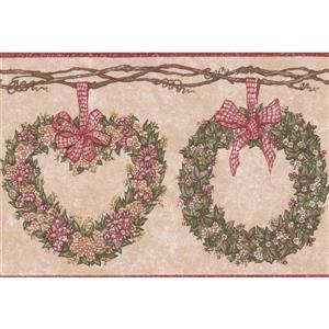 "Retro Art Flowers on Green Wreath Wallpaper Border - 15' x 7"" - Pink"