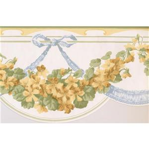Norwall Flowers on Vine Wallpaper Border - 15' x 7.75-in- White